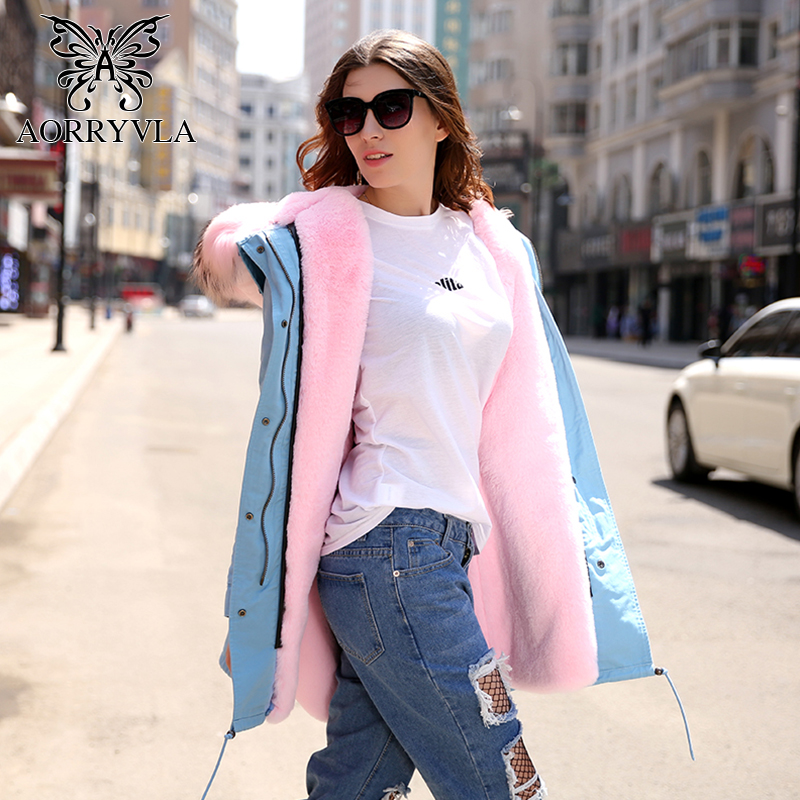 AORRYVLA 2017 New Winter Women Parkas Long Large Raccoon Fur Collar Hooded With Faux Rabbit Fur Lining Loose Coat Female Parka 2017 winter new clothes to overcome the coat of women in the long reed rabbit hair fur fur coat fox raccoon fur collar
