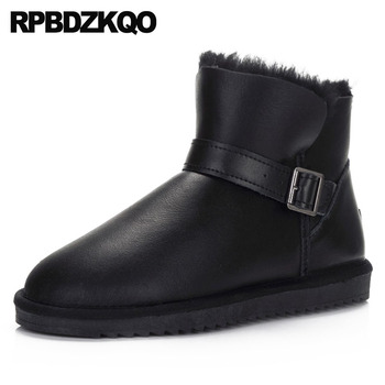 australian suede men winter high quality snowboot ankle real fur boots shoes plus size slip on embellished black sheepskin snow