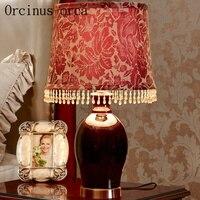 American Retro Luxury Wedding Room Lamp Bedside Lamp European Warm Creative Red Ceramic Lamp Free Shipping