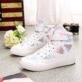 Мода Белый Холст Обувь Женская Повседневная Обувь Высокий Верх Женщины Кроссовки Скейтборд Обувь Корзина Chaussure Femme