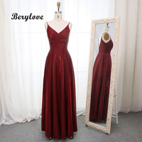 Berylove 2019 Unique Dark Red Evening Dresses Long V Neck Backless Evening Gowns Women Beach Style Burgundy Formal Dress Prom