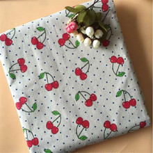 Cotton Linen Patchwork Fabric Printed Cloth Canvas Sewing Material Cherry DIY Quilting For Textile