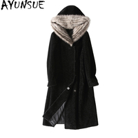 AYUNSUE Luxury Sheep Shearling Fur Coat Female 2018 New Long Winter Coats Women Natural Mink Fur Hooded Real Wool Jacket X 11