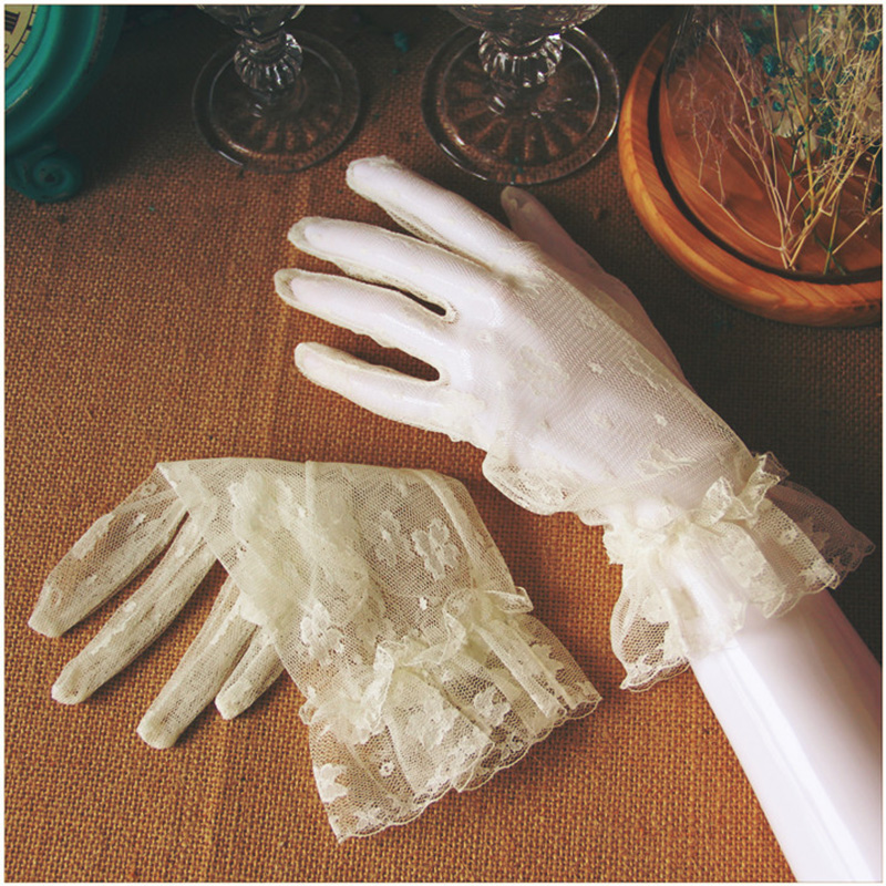 Women Lace Short Gloves Full Finger Floral Elegant Summer Lace Gloves Transparent Gauze Ruffle Trim Party Cream White