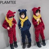 Plamtee Kawaii Обувь для мальчиков комплект для девочек изображение животного Толстовки комплекты детской одежды зима теплая 100% хлопок Детские к...