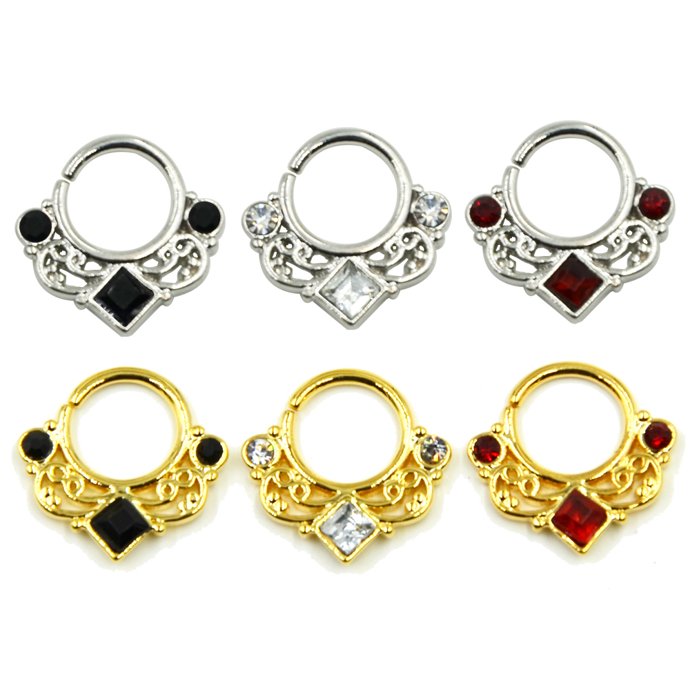 Square Cz Gem Crystal Septum Clicker Clicker Nose Ring Piercing Hoop Hoop Body Jewelry Nose Stud Retainers Ear Tragus Helix Clicker on Opal Cartilage Earring