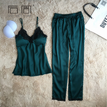 Satin Sleepwear Female Sexy Pyjamas Pajamas for Women Silk Pajamas Elegant Home Wear Pijama 2 Pieces