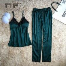 Satin Sleepwear Female Sexy Pyjamas Pajamas for Women Silk Pajamas Elegant Home Wear Pijama 2 Pieces