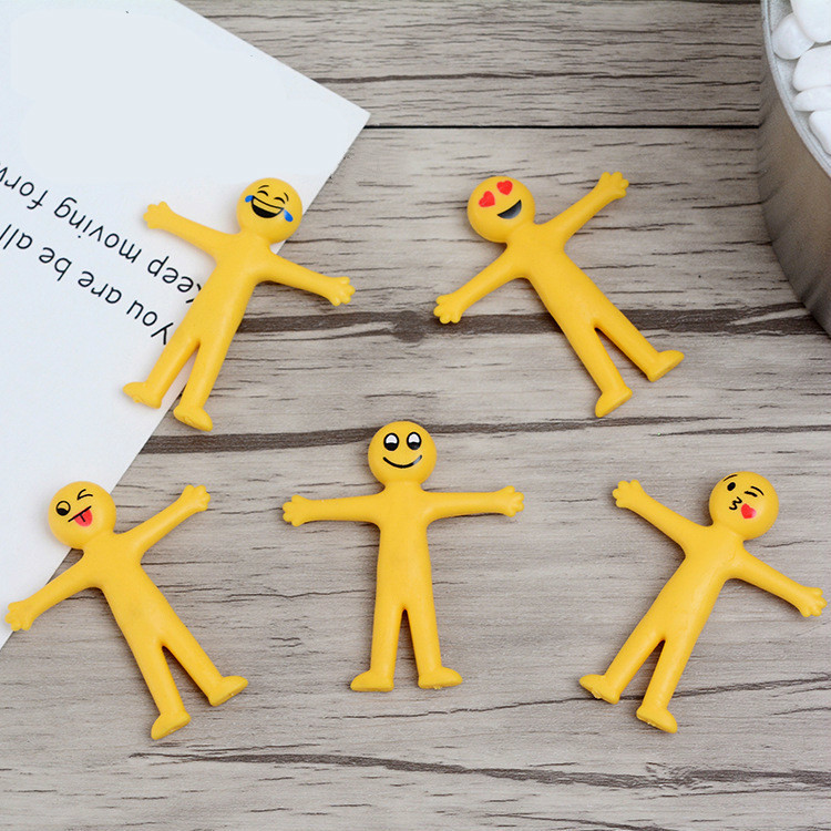 5pcs/ Lot Creative Soft Rubber Yellow People Smiley Face Stretch Folding Vent Toys