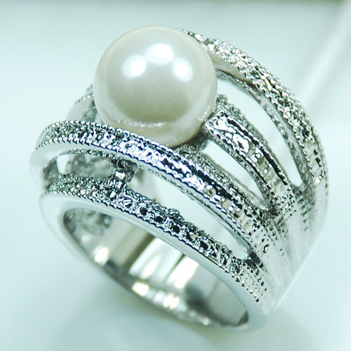 Huge White Pearl  925 Sterling Silver Ring Size 6 7 8 9 10 R265