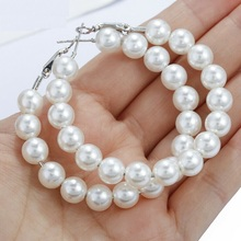 цена на 1 Pair Elegant White Pearls Statement Earrings Women Oversize Pearl Circle Ear Rings Earrings