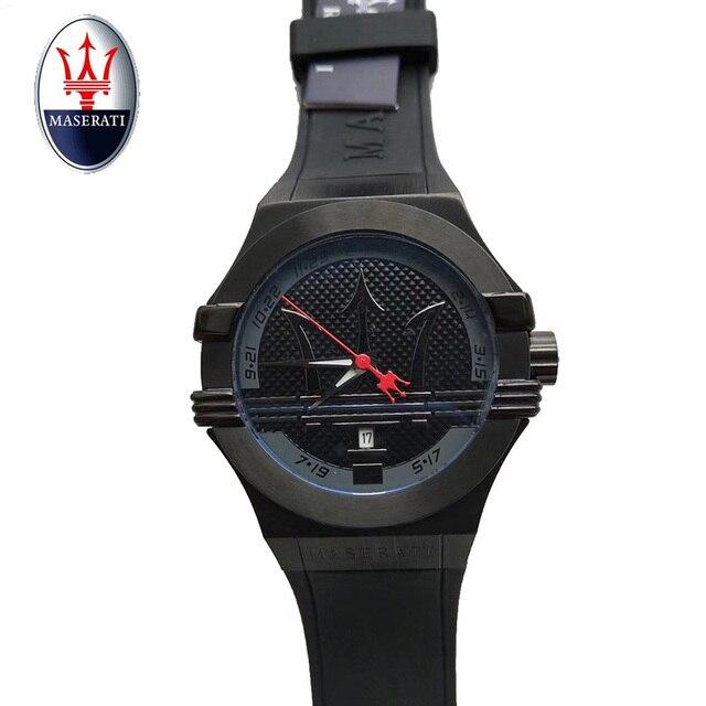 maserati marca hombres reloj de marca de lujo cuero de goma regalo