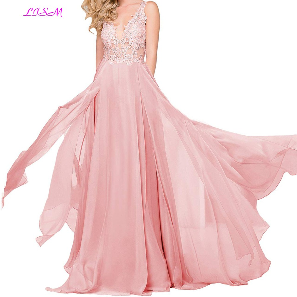 V Neck Long Prom Party   Dresses   robe de bal Lace Applique Straps Chiffon Formal Gowns Pink Sleeveless   Bridesmaid     Dress   gala   dress