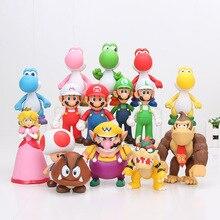 8~ 15 см Super Mario Bros Bowser Koopa Йоши Марио Луиджи Ослик Конг Одиссея Принцесса Персик ПВХ Фигурки игрушки модельные куклы