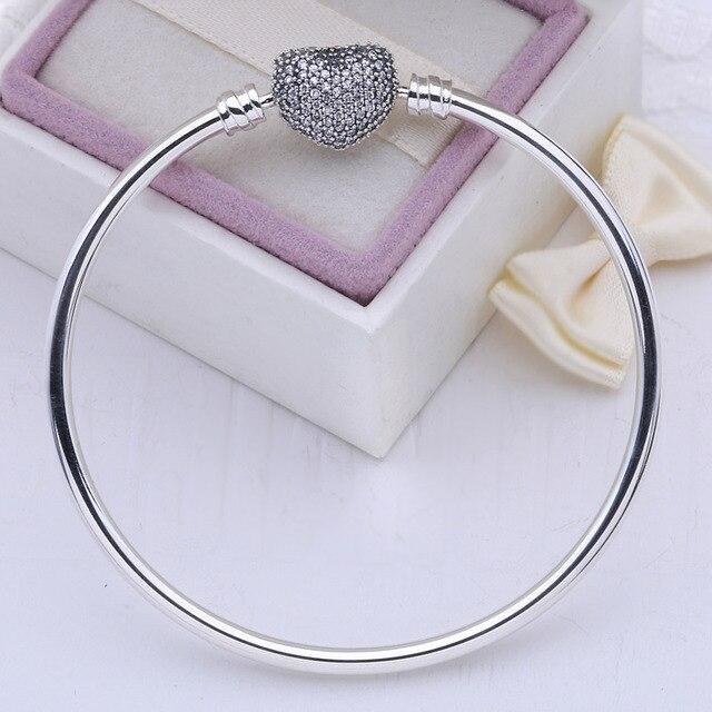 100% 925 sterling silver bangle love heart Charm pave CZ original logo beads fit DIY bracelet for women pulsera jewelry gift