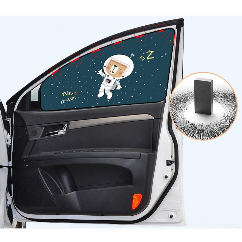 Car Cartoon Cute Spaceman Magnet Side Window Sunshades Windshield Sunshade Rear Side Auto Window Sunshade Cover For Children