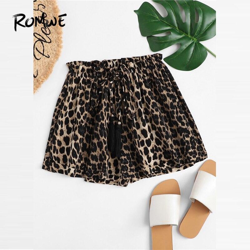 ROMWE Leopard Drawstring Elastic Waist Shorts 2019 Chic Basic Summer Wide Leg Women Shorts Sexy Female Mid Waist Shorts