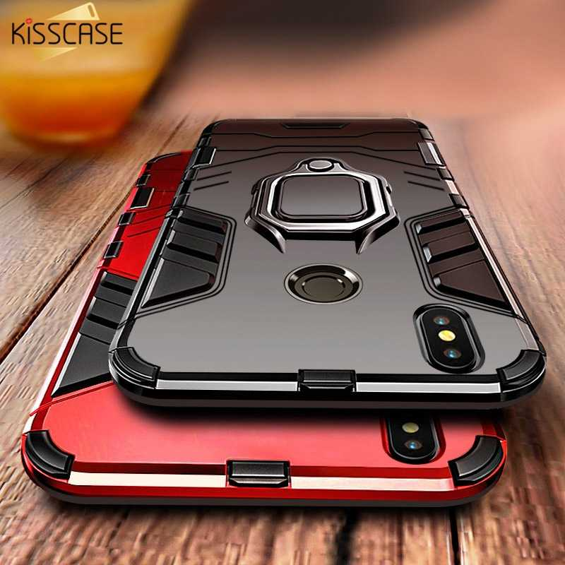 KISSCASE Anti-knock Case For Xiaomi Mi 8 A2 A1 pocophone F1 Redmi Note 6 pro 5 4X Finger Ring Holder Shockproof Back Cover coque