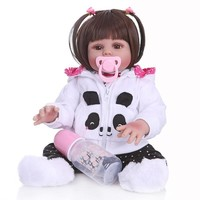 Bebes Reborn Doll 48cm Baby Girl Dolls Soft Silicone Doll Reborn Brinquedos Bonecas Children's Day Gifts Toys Bed Time Playmate