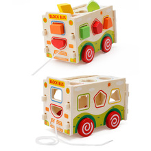 hot deal buy wooden pulling dismounting car for children building blocks toys,  disassembly shape car wooden blocks, kids wood classic car