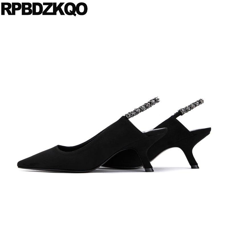 de82c90e998710 Detail Feedback Questions about Crystal Shoes Women 2018 Kitten Pumps Black Pointed  Toe Suede Medium Heels Strap Rhinestone Slingback Diamond Celebrity ...