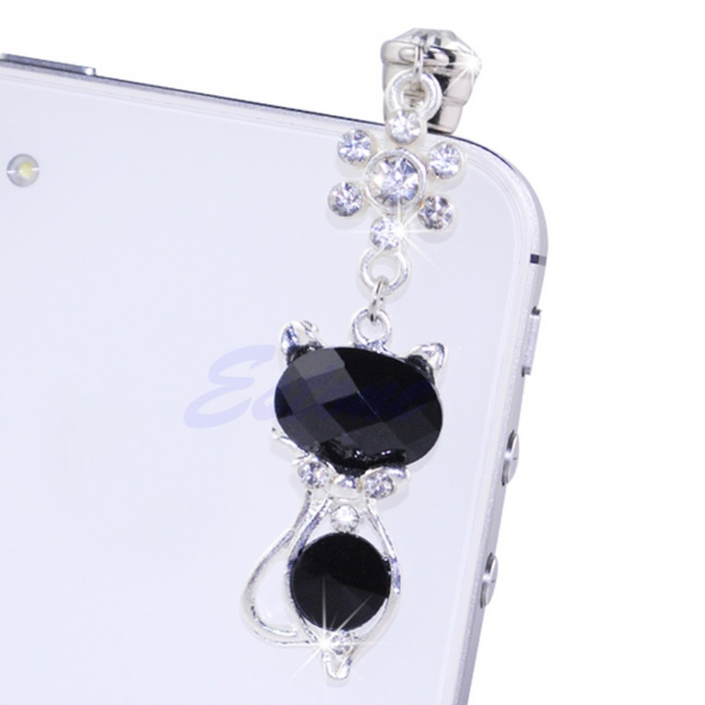 OOTDTY 3.5mm Jack Cat Crystal Dust Plug Anti Earphone Cap Stopper For iPhone 6 Samsungfree shipping