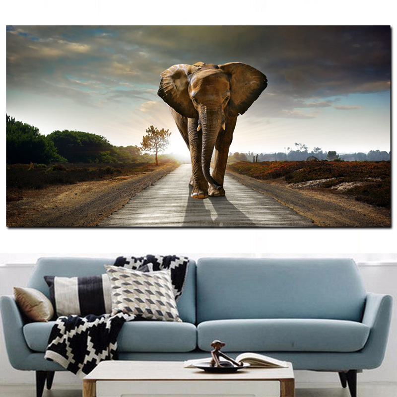 Pop Art HD Print Africa Elephant Animal Landscape Oil Painting on Canvas Wall Picture for Living Room Poster Sofa Cudros Decor (2)