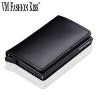 VM FASHION KISS RFID Genuine Leather Minimalist Wallet DIY Metal Aluminum Safe Purse Credit Id Business Card Holder Cardholder