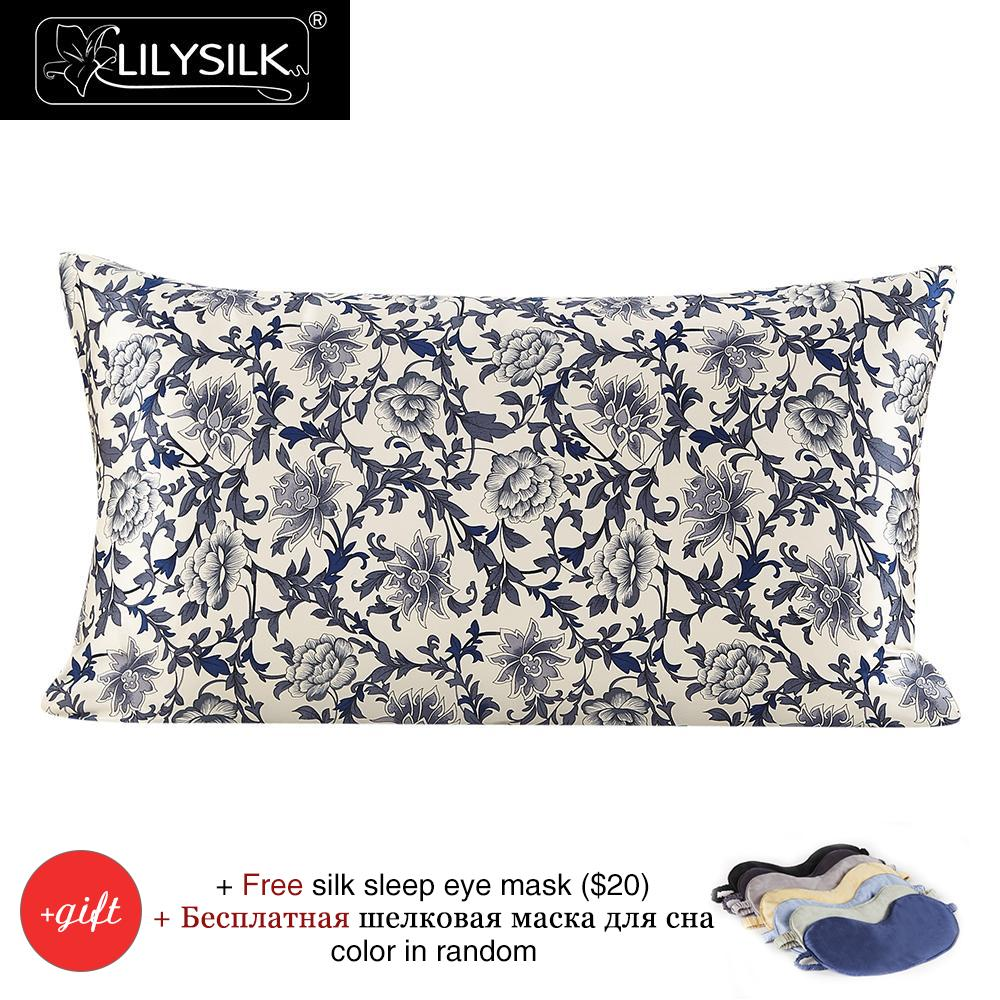 Lilysilk 100 Silk Pillow Cover 16 Momme Blue White Pure Mulberry Silk Free Shipping