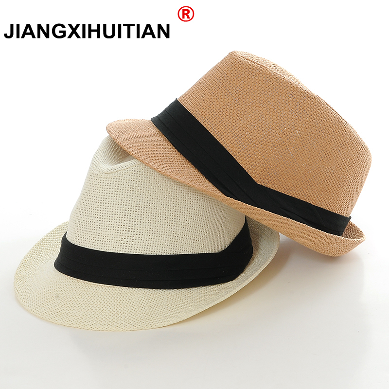 Wholesale 2018 New Fashion Women Men  Sun Hat For Boys Summer Caps Casual Straw Caps Children Solid Colors Bonnet Girl Hats(China)