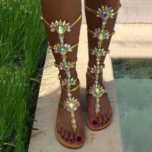 72d772ca5109de XingDeng Women Rhinestone Flat Sandals Ladies High Summer