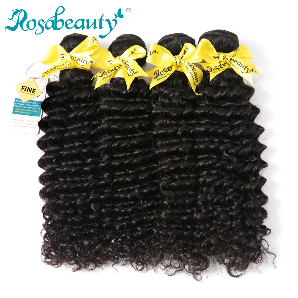 Rosa Beauty Grade 8A Malaysian Deep Wave Hair Bundles 4Pcs Lot 100 Remy Human Hair Weave
