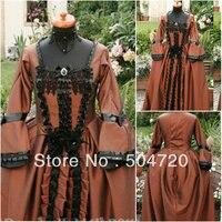 19 века коричневый с длинными рукавами Гражданская война Southern Belle вечернее платье/викторианской платье Лолита платье US6 26 V 322