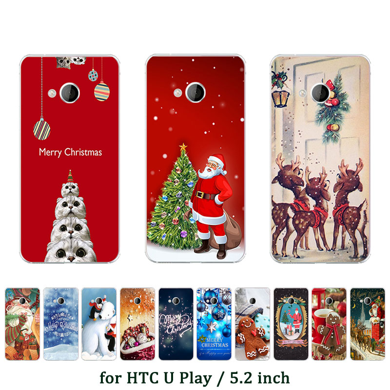Case For HTC U Play Soft Silicone Phone Case Cover For HTC U Play X'mas Elk Printed TPU for HTC UPlay Alpine Protective Capa