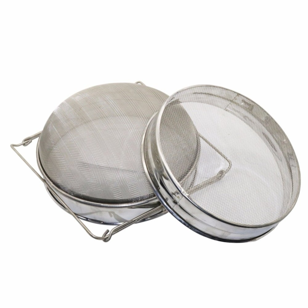 Stainless Steel Honey Filter Honey Strainer Network Double Sieve Screen Mesh Filter Beekeeping Tools