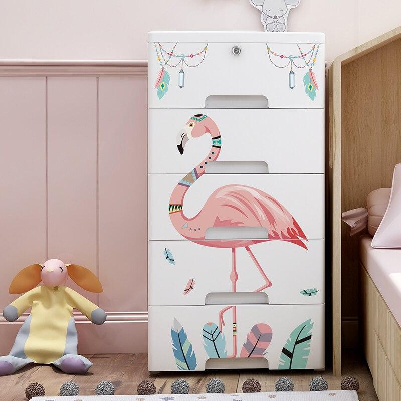 Cartoon Wardrobe Organizer With Pulley For Children Cabinet Modern Bedroom Furniture meuble rangement Clothes Closet Storage
