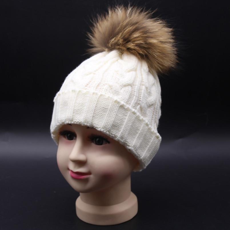 Bayi Topi Musim Dingin Nyata Bulu Pompom Anak Beanie Anak Memutar - Aksesori pakaian - Foto 3
