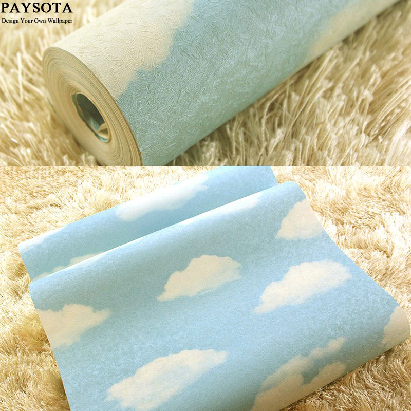 PAYSOTA Mediterranean Style WallPaper Blue Sky White Clouds Bedroom PVC Waterproof Embossing  Children Room Cartoon Wall Paper 10m 45cm pvc blue sky white clouds self adhesive waterproof wallpaper bedroom children room sitting room cartoon wall stickers