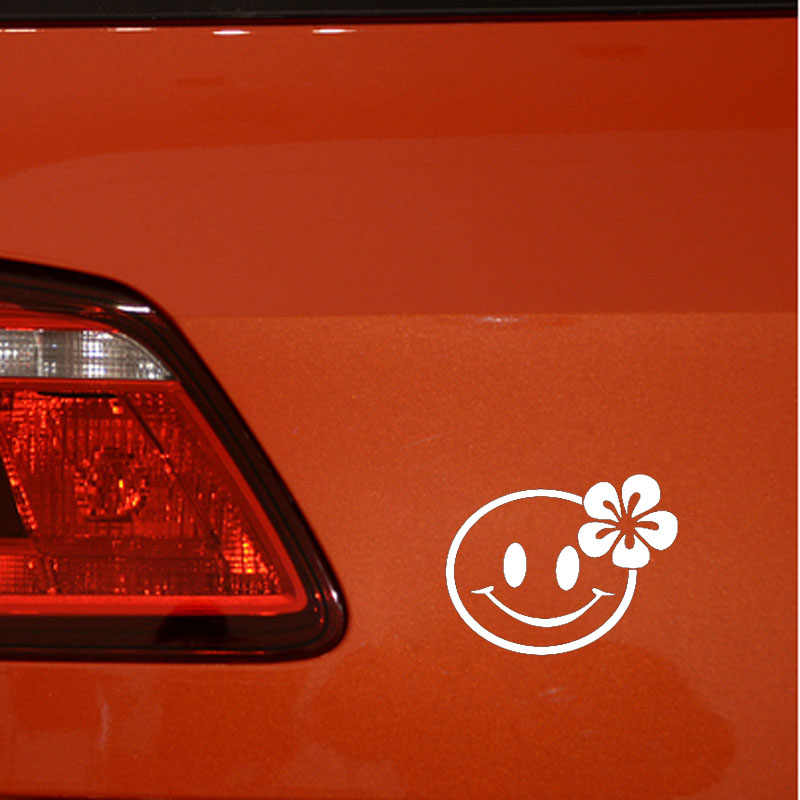 YJZT 12.7 سنتيمتر * 10.1 سنتيمتر الهبي مبتسم الوجه الفينيل صائق متعة سيارة ملصقا أسود/الفضة C3-0425