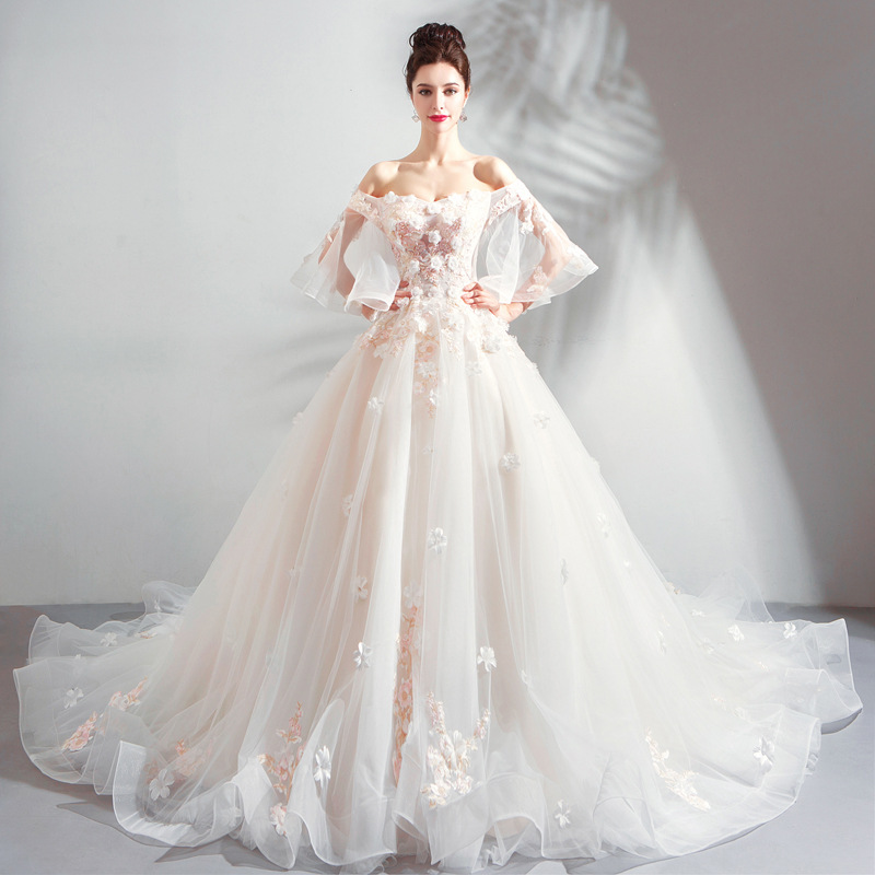 Wedding Gowns For Less: 2019 New Young Mom Flower Lace Slim Shoulderless Long