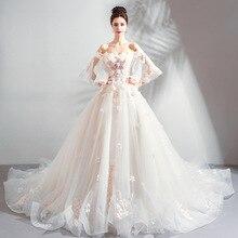 2019 חדש אמא צעירה פרח תחרה Slim Shoulderless ארוך משתה חתונה שמלה