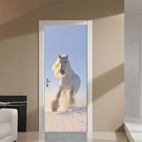 Amazing Running Horse Door Wall Sticker Self Adhesive Wall Picture For Living Room Home Decoration Wall