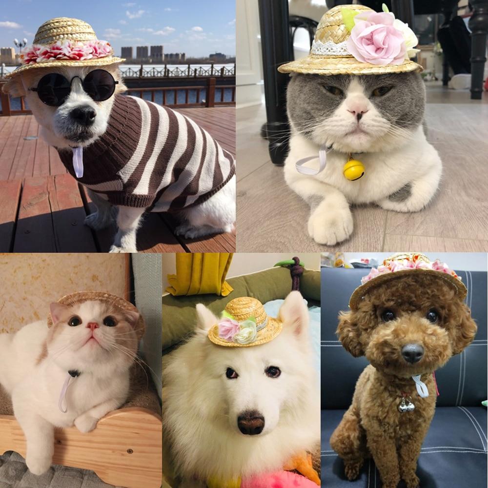 Mini Pet Dogs Straw Hat Sombrero Cat Sun Hat Beach Party Straw Hats Dogs Hat JG