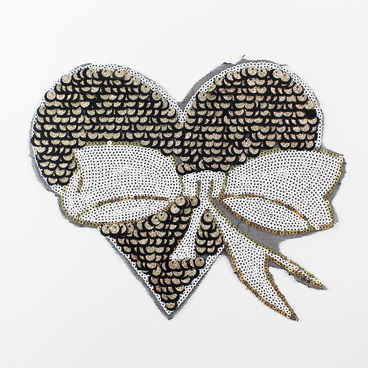 Sequin applique butterfly love embroidered patch applique for Applique decoration