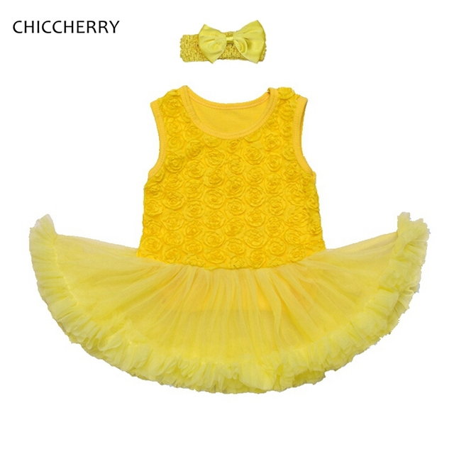 Yellow Rose Lace Romper Dress Wedding Sleeveless Headband Infant Lace Tutus Roupas De Bebe Birthday Baby Outfits Infant-clothes