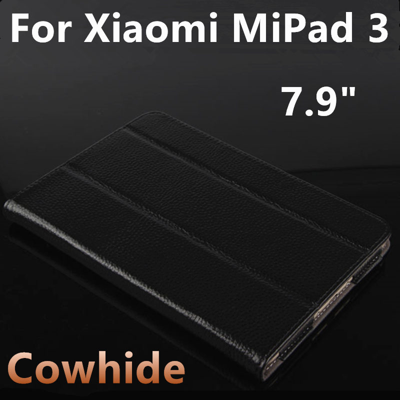 Case Cowhide For Xiaomi MiPad 3 Protective Smart cover Genuine Leather Tablet PC 3 mipad3 2 Protector Sleeve Covers 7.9 inch PU luxury pu leather case cover for xiaomi mi pad 1 2 3 mipad 2 3 7 9 tablet pc sleeve pouch bag cases for mipad3 can satnd case