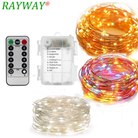 RAYWAY Battery Operated 10M Siliver Wire 100 LED Fairy String Starry Firefly Lights With Timer For