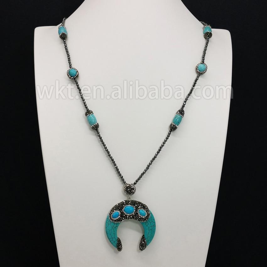 WT NV090 80cm long turquoise horn charm beads necklace Gorgeous turquoise horn charm beads necklace women