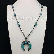 WT-NV090 80 см длинные бирюзовый рог шарики шарма ожерелье Великолепная бирюзовый рог шарики шарма ожерелье женщины для изготовления ювелирных изделий