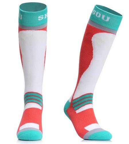Prix pour Gsou neige femmes divers ski bas blanc et rouge femelle épais thermique snowboard ski chaussettes d'hiver sports de plein air chaussettes